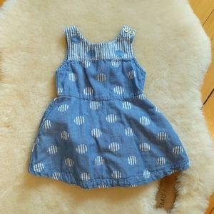 New! Oshkosh Chambray Baby Dress + Diaper Cover 12